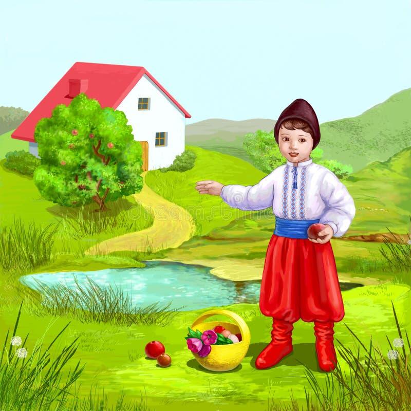 Download Ukrainian house and boy stock illustration. Image of fruit - 24021513
