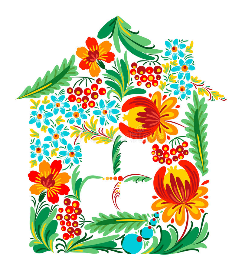 Ukrainian house. Ukrainian ethnic floral house silhouette royalty free illustration