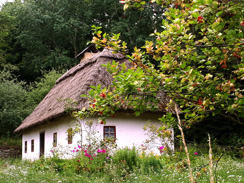 Ukrainian house in summer royalty free stock photo