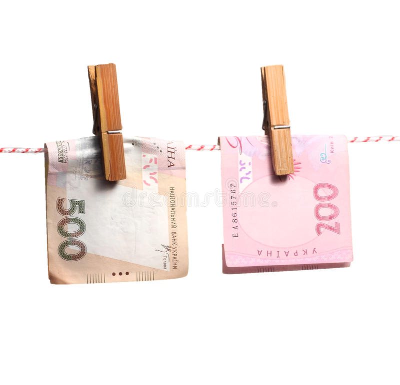 Ukrainian hryvnia that dry on a cord for linen stock photography