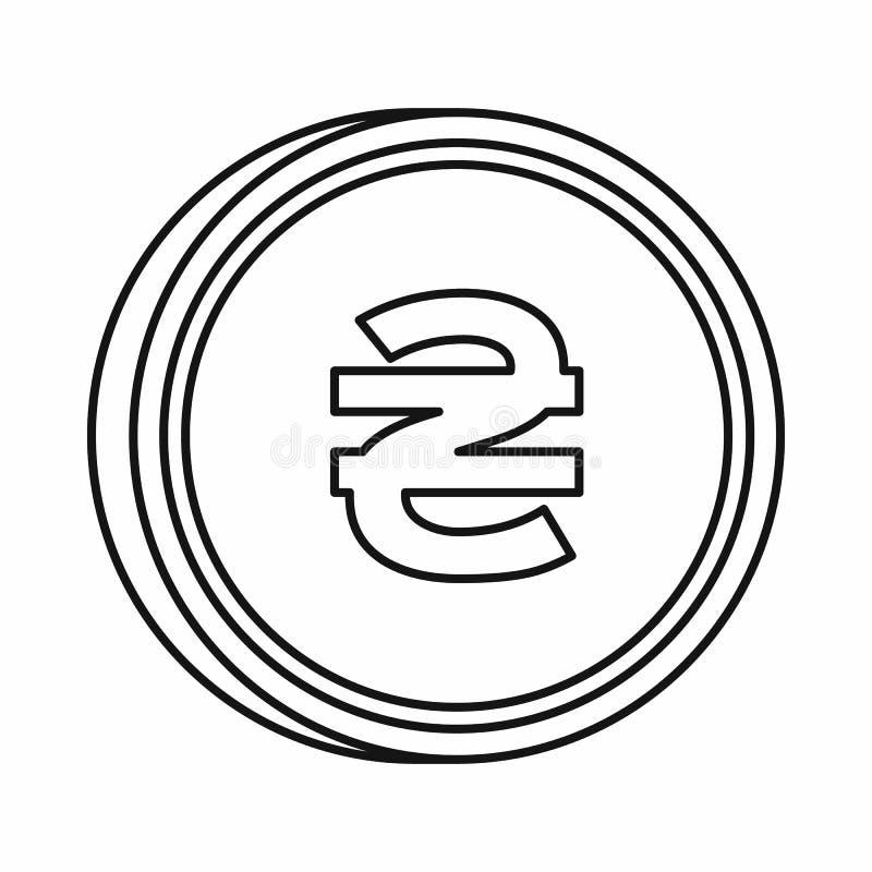 Ukrainian hryvnia sign icon, outline style stock illustration