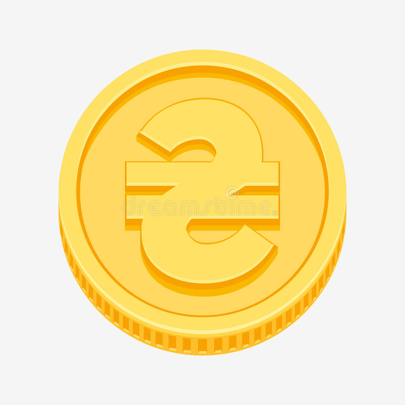 Ukrainian hryvnia symbol on gold coin royalty free illustration