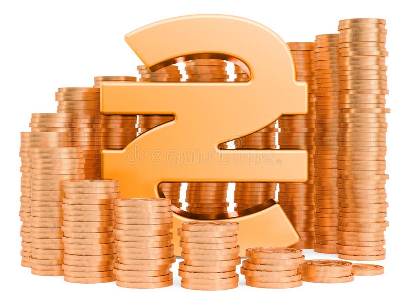 Ukrainian hryvnia symbol with golden coins around, 3D rendering stock illustration