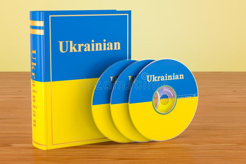 Ukrainian language textbook with flag of Ukraine and CD discs on. The wooden table. 3D stock illustration