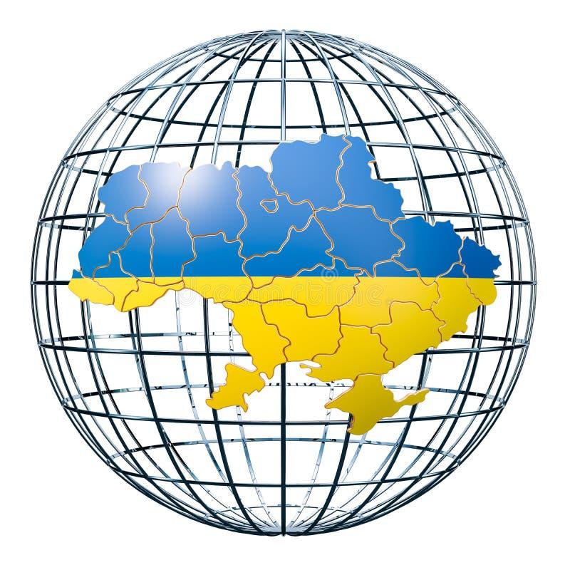 Ukrainian map on the Earth Globe. 3D rendering vector illustration
