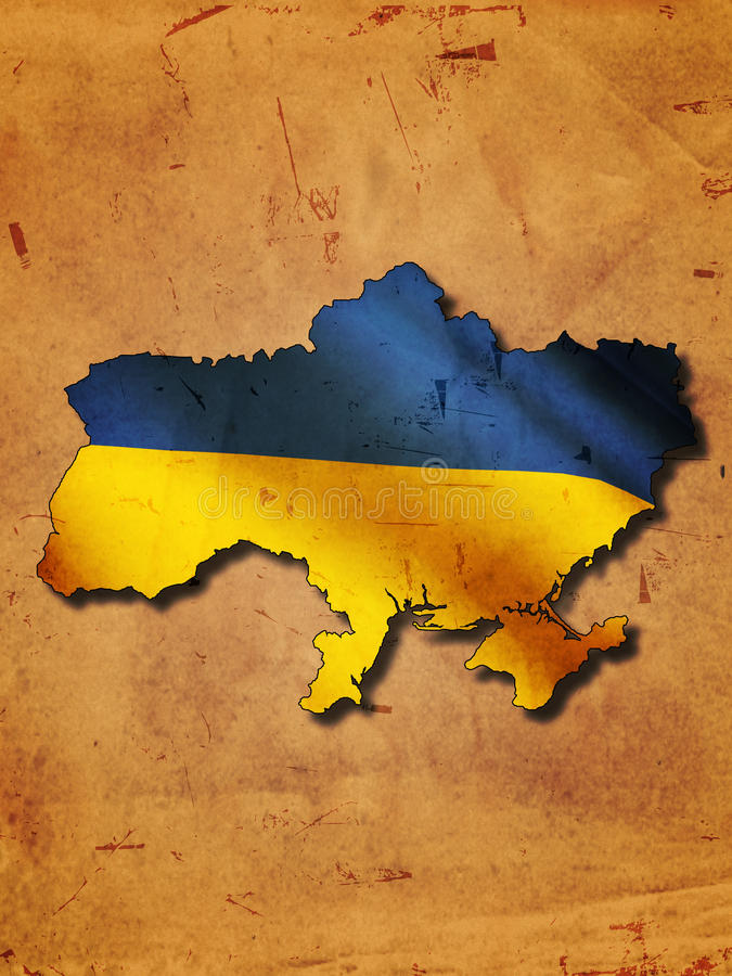 Download Ukrainian map with flag stock illustration. Image of paper - 25225396