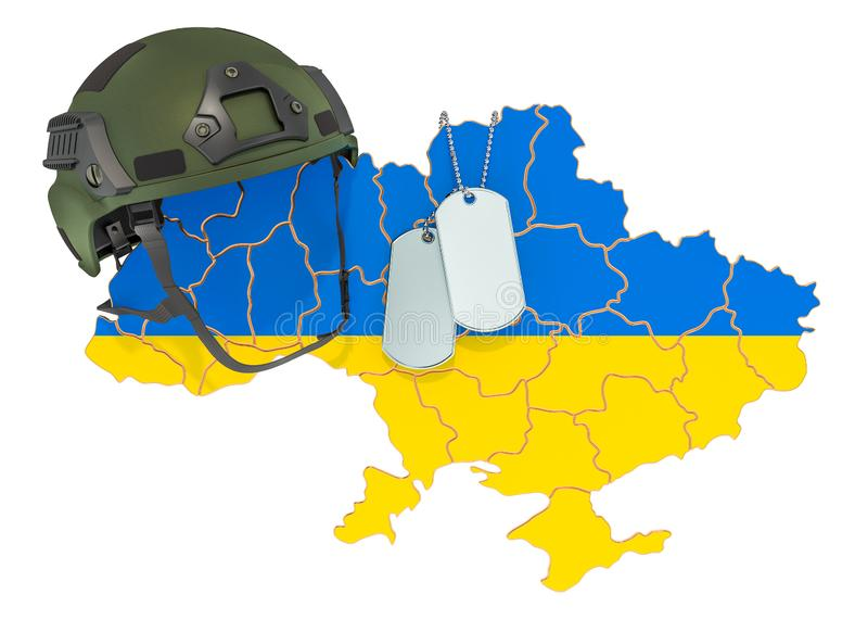Ukrainian military force, army or war concept. 3D rendering. Isolated on white background stock illustration