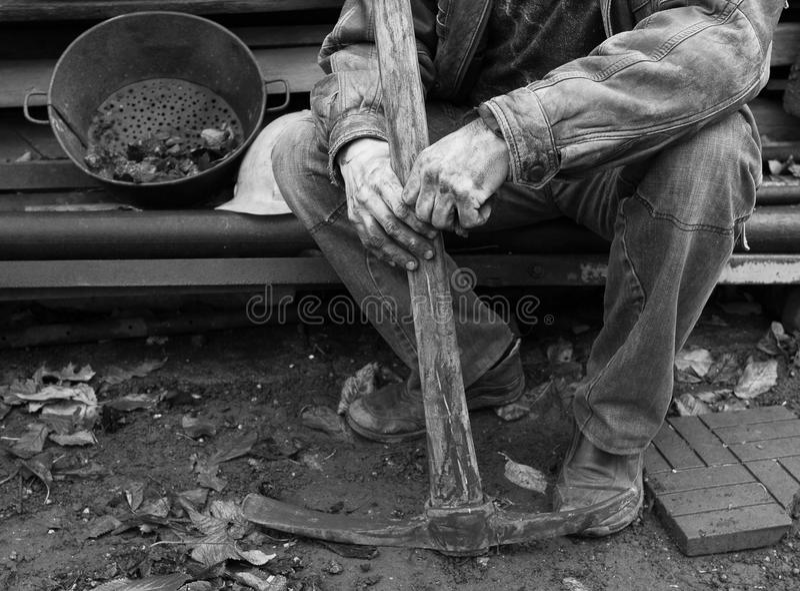 Ukrainian miner. Miner having a break after hard work stock images