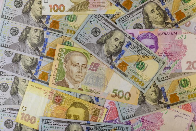 Cash Ukrainian Money and money finance investment American dollars banknotes stock image