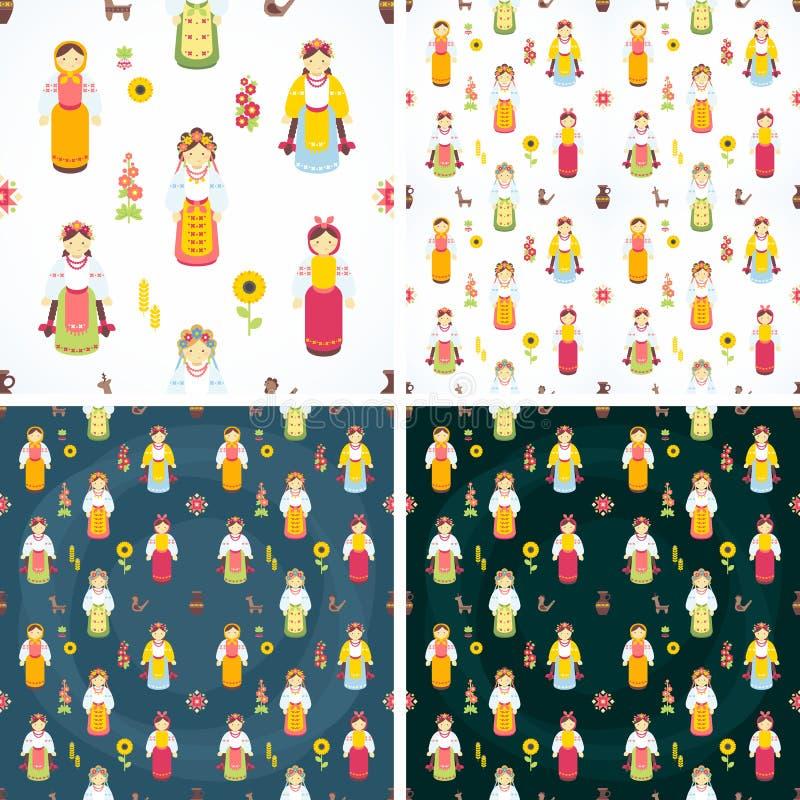 Ukrainian national costumes. Vector icons. Ukrainian characters. Seamless background. Illustration royalty free illustration