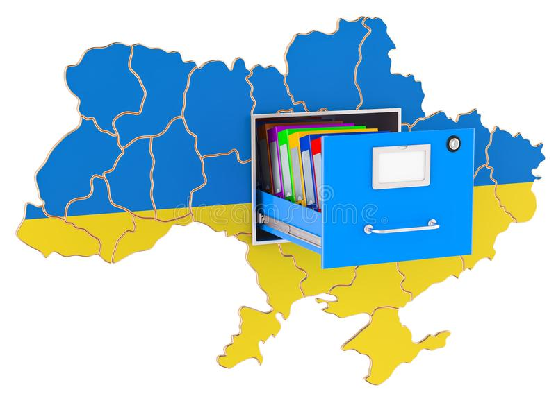 Ukrainian national database concept, 3D rendering. Isolated on white background royalty free illustration