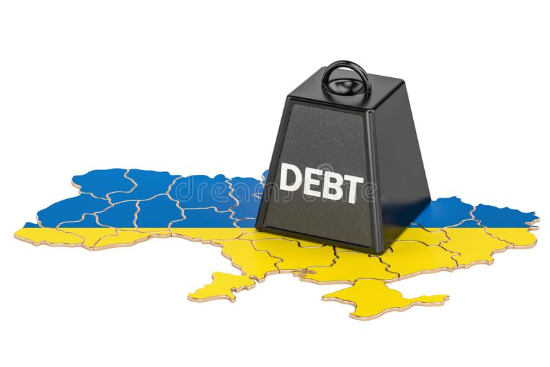 Ukrainian national debt or budget deficit, financial crisis concept, 3D rendering. Ukrainian national debt or budget deficit, financial crisis concept vector illustration