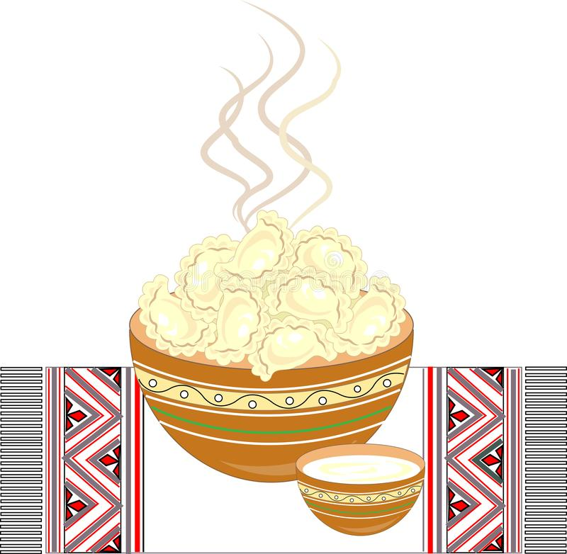 Ukrainian national dish. Vareniki with cottage cheese, potatoes, meat, dumplings . Decoration of the festive table. On an. Embroidered towel. Delicious hot food stock illustration