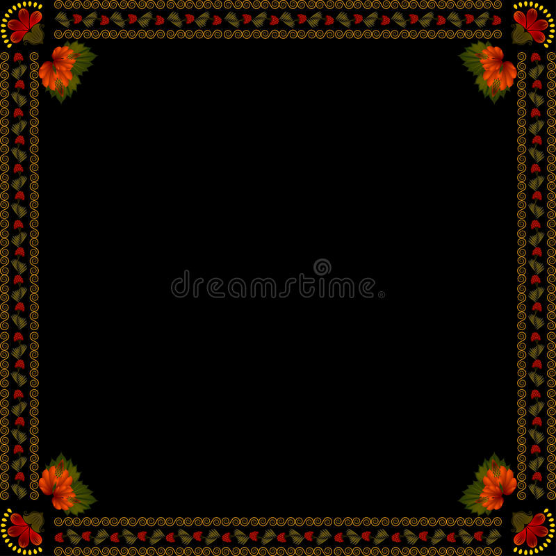 Ukrainian national floral ornament on dark background. Eps 10 royalty free illustration