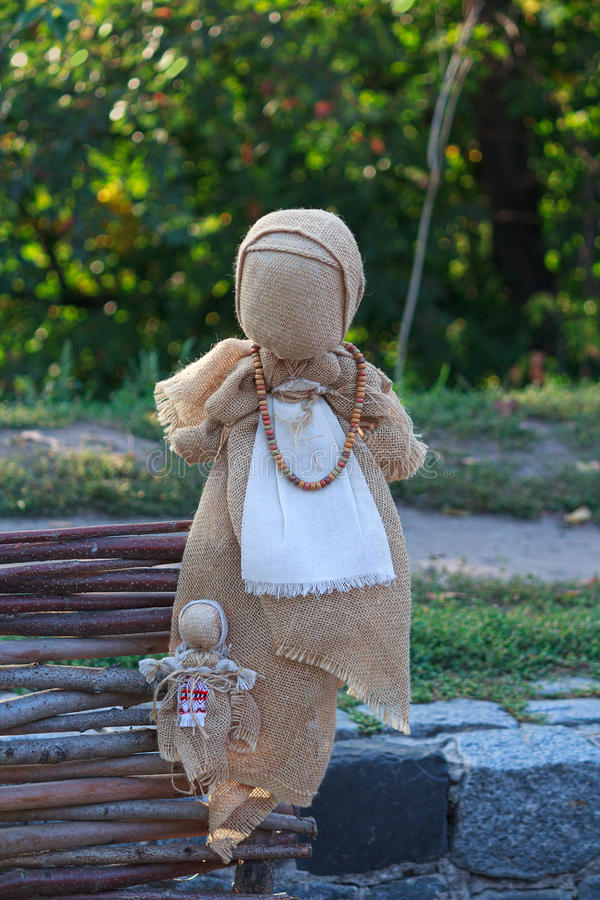 Ukrainian national folklore doll motanka on view stock photography