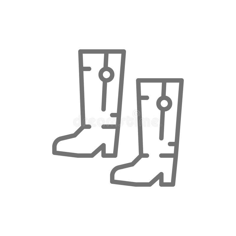 Ukrainian national footwear, traditional ethnic boots line icon. stock illustration