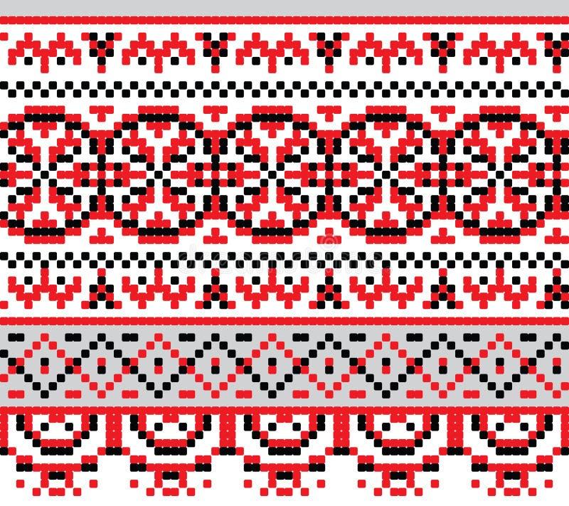 Ukrainian national pattern cross stitch background stock illustration