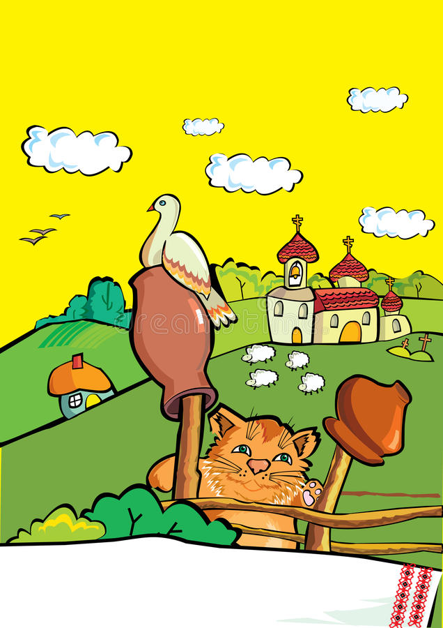 Download Ukrainian National Village Landscape Stock Vector - Illustration of mills, crow: 39834480