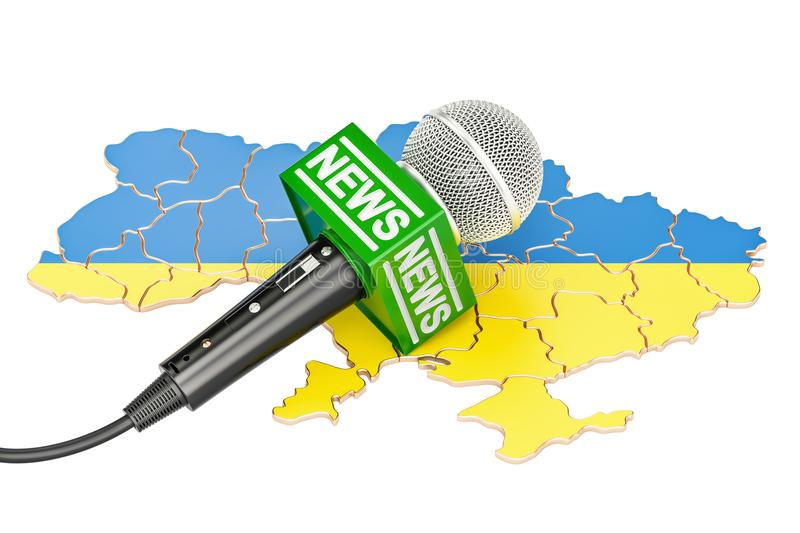 Ukrainian News concept, microphone news on the map. 3D rendering. Ukrainian News concept, microphone news on the map. 3D stock illustration