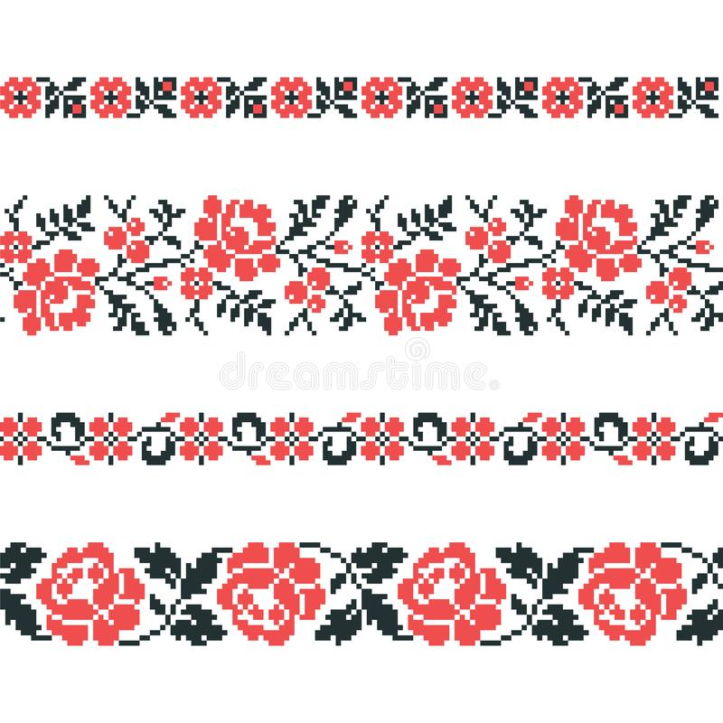 Ukrainian old embroidery and patterns. Vector seamless pattern of slavic ornament stock illustration