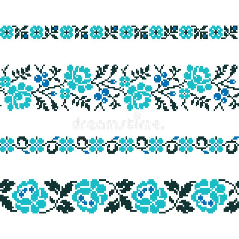 Ukrainian old embroidery and patterns. Vector seamless pattern of slavic ornament vector illustration