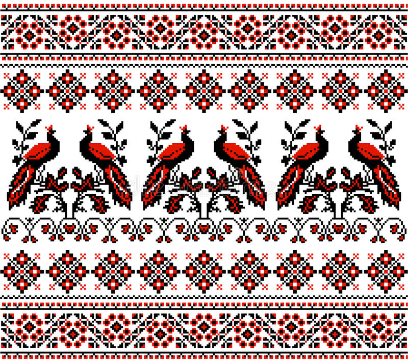 Ukrainian ornament. Of ornamental birds and ribbons on a white background vector illustration