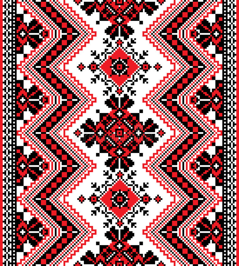 Ukrainian ornament. Vertical Ukrainian ornament on white background vector illustration