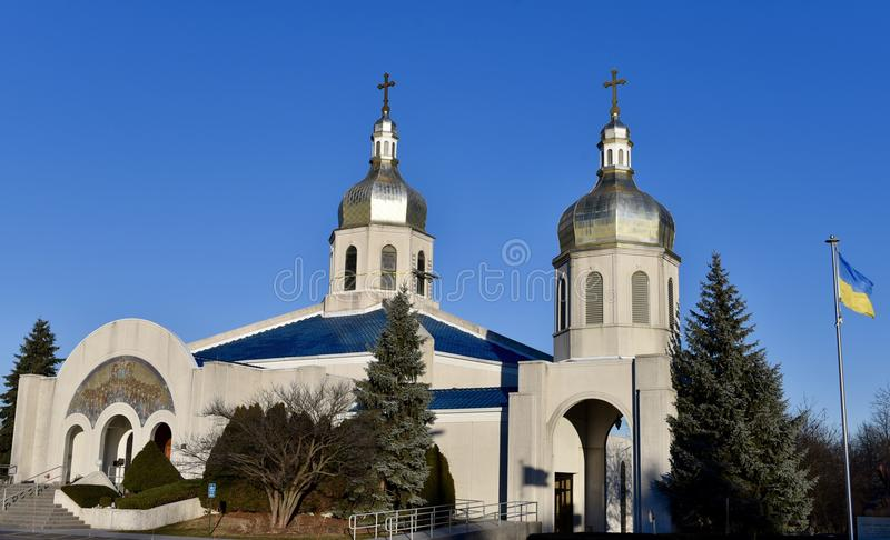 Ukrainian Orthodox Church. This is a Winter picture of St. Andrew Ukrainian Orthodox Church located in Bloomingdale, Illinois in DuPage County. This church built stock photo