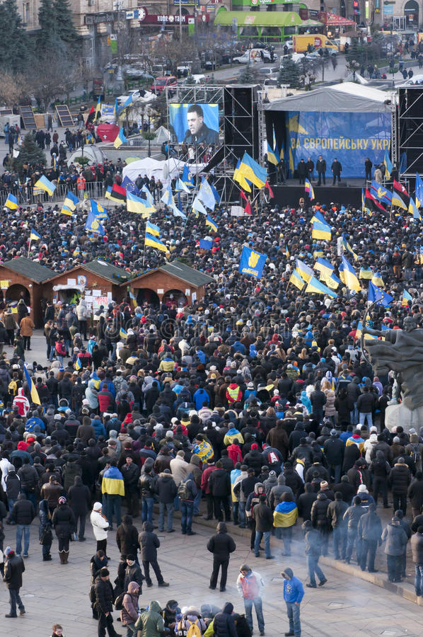 Ukrainian people demand the resignation of the government and early voting. KYIV, UKRAINE - DECEMBER 3: Ukrainian people demand the resignation of the government royalty free stock photos