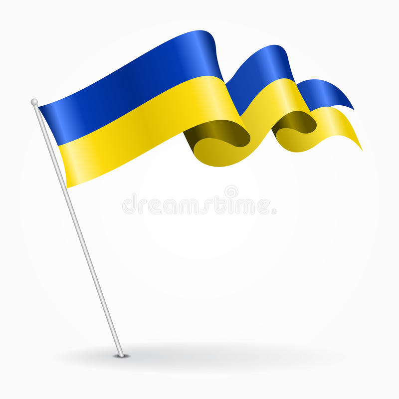 Ukrainian pin wavy flag. Vector illustration. Ukrainian pin icon wavy flag. Vector illustration stock illustration