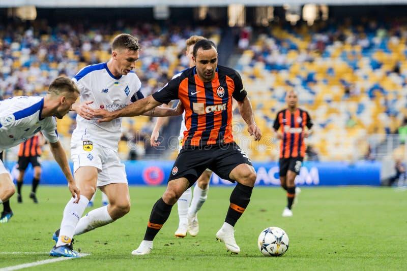 Ukrainian Premier League match Dynamo Kyiv - Shakhtar Donetsk, A. Kyiv, Ukraine - August 03, 2018: Ismaili controls the ball. Ukrainian Premier League match stock photo