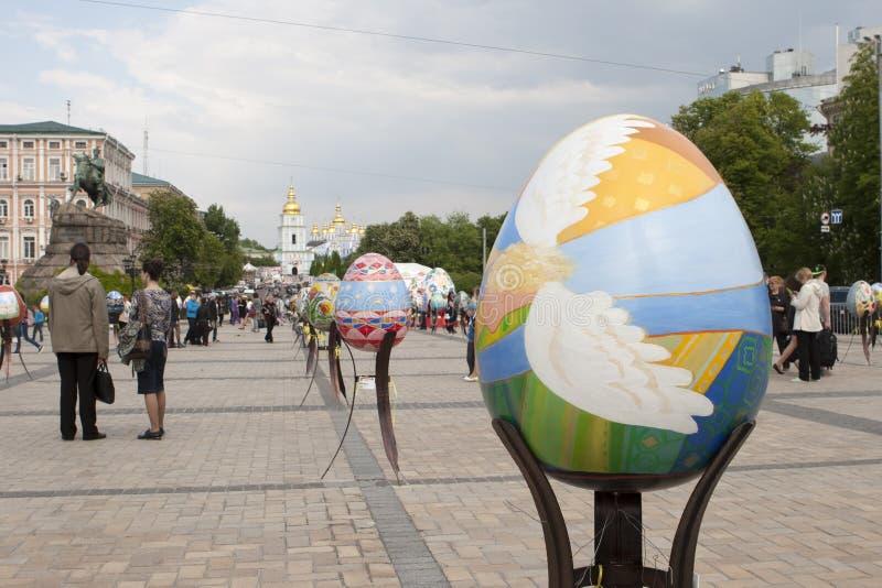 Ukrainian Pysanky festival. KIEV, UKRAINE - MAY 5, 2016: Ukrainian Pysanky festival (Festival of Easter eggs, 23.04-09.05) - The traditional Easter event for stock photography