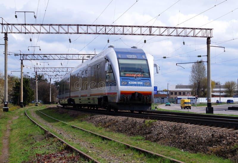 Ukrainian rail-bus in Khmelnitsky, 18-04-2015 royalty free stock images