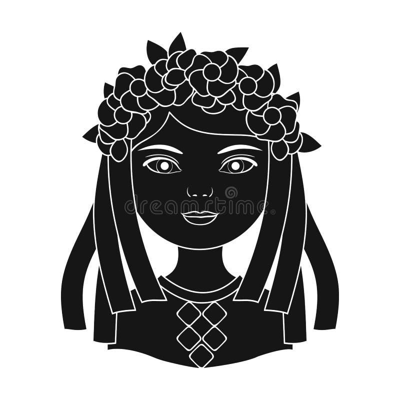 ukrainian Rasy ludzkiej pojedyncza ikona w czerń stylu symbolu zapasu ilustraci wektorowej sieci royalty ilustracja
