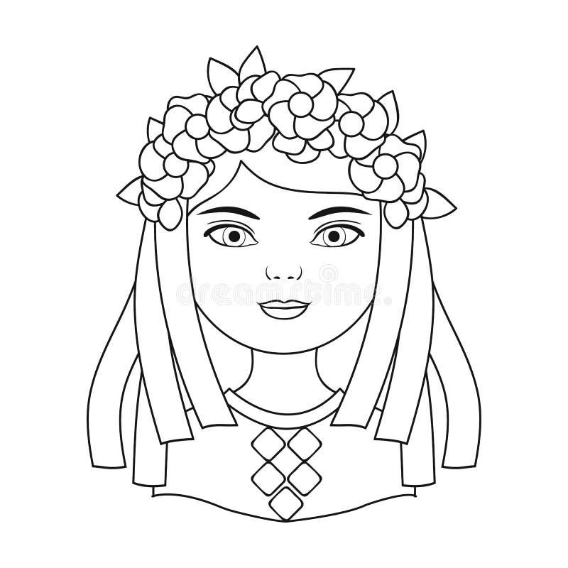 ukrainian Rasy ludzkiej pojedyncza ikona w konturu stylu symbolu zapasu ilustraci wektorowej sieci royalty ilustracja