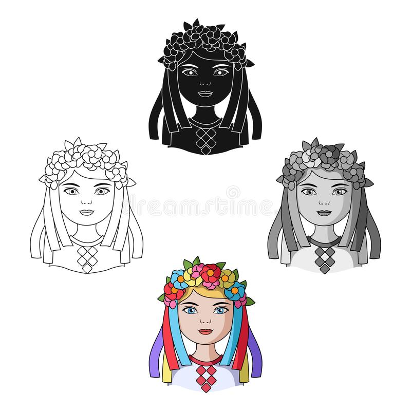 ukrainian Rasy ludzkiej pojedyncza ikona w kresk?wce, czer? symbolu zapasu ilustracji stylowa wektorowa sie? ilustracji
