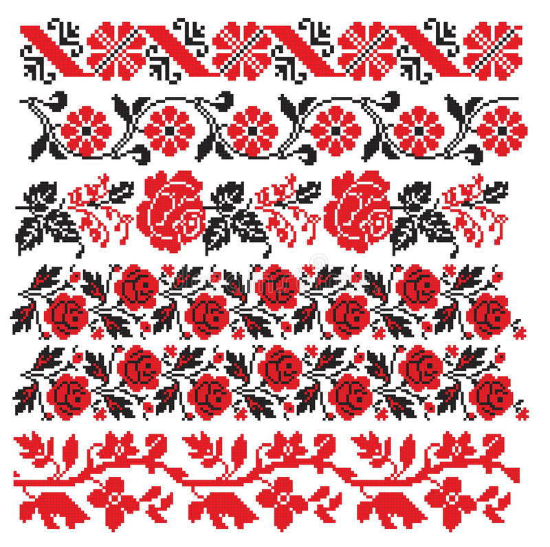 Ukrainian romanian russian embroider. There is a scheme of ukrainian pattern for embroidery stock illustration