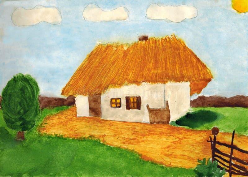 Ukrainian rural landscape. Children`s drawing: the Ukrainian ancient house, a court yard, a wattle fence, a tree vector illustration