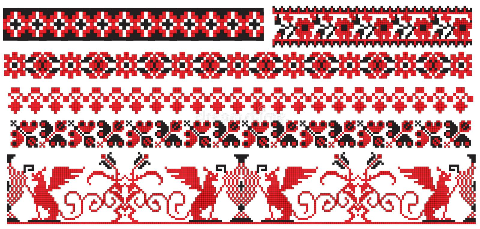 Ukrainian russian embroider old pattern vector illustration