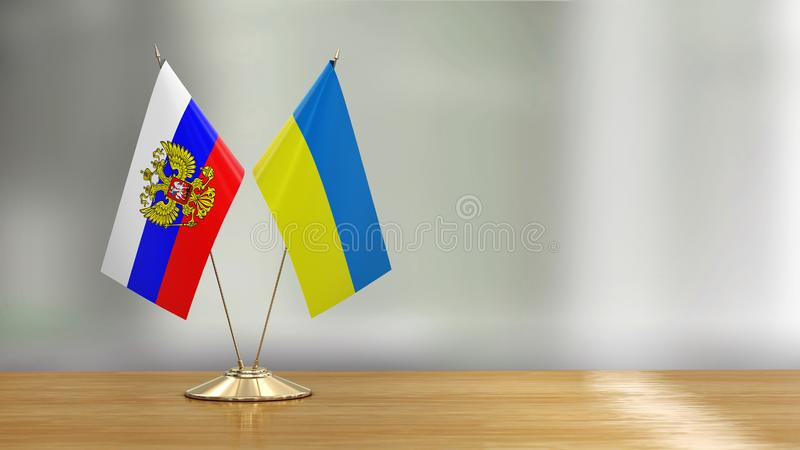 Ukrainian and Russian flag pair on a desk over defocused background. 3d Image of Ukrainian and Russian flag pair on a desk over defocused background vector illustration