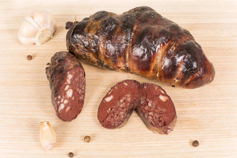 Ukrainian sausage from the blood. In the porcine intestine stock photography