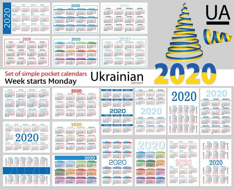 Ukrainian set of pocket calendars for 2020. Two thousand nineteen. Week starts Monday. New year. Color simple design. Vector stock illustration
