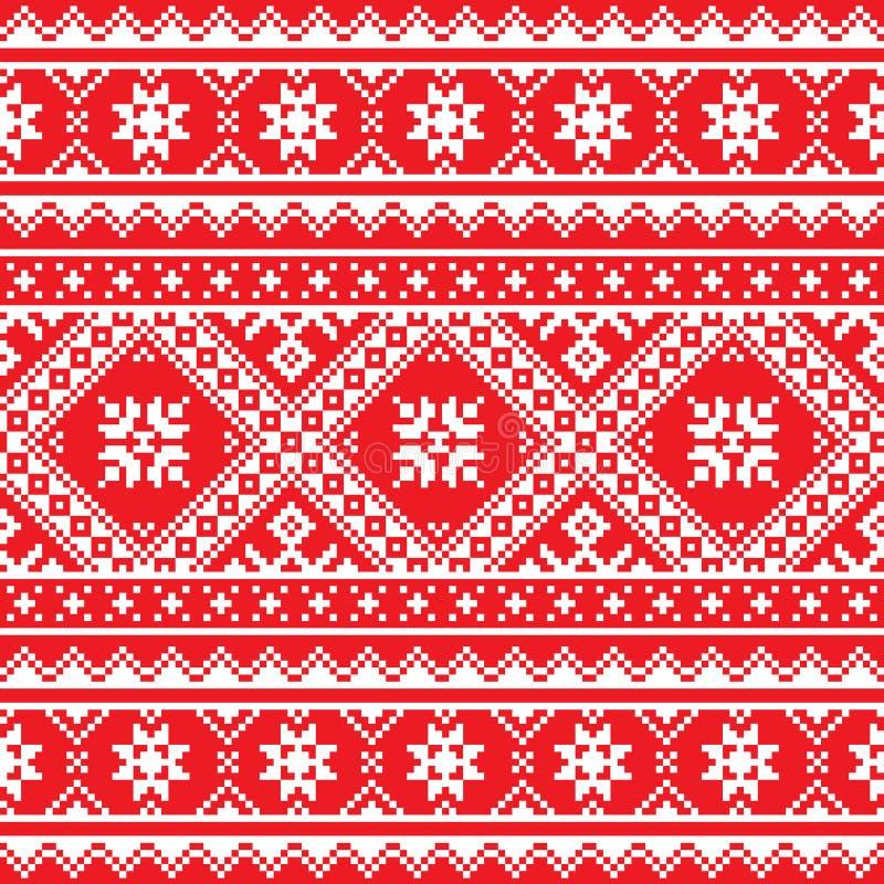 Ukrainian, Slavic folk art knitted red and white embroidery pattern. Ethnic seamless white Ukrainian print on red background stock illustration