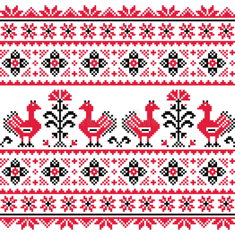 Ukrainian Slavic folk knitted red emboidery pattern with birds. Ethnic Ukrainian seamless pattern from Ukraine in red an grey on white background vector illustration