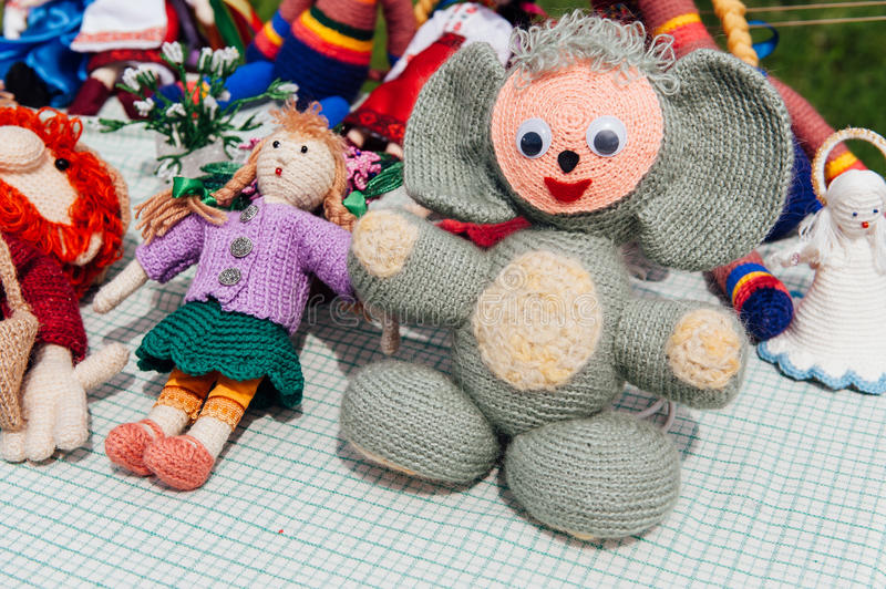 Ukrainian souvenirs - Knitted toys. big ears stock images