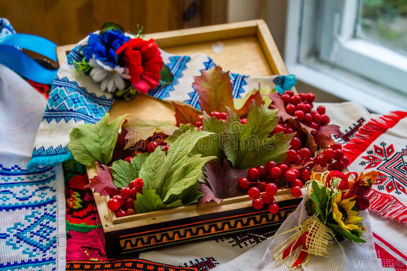 Ukrainian still life with a viburnum royalty free stock photography