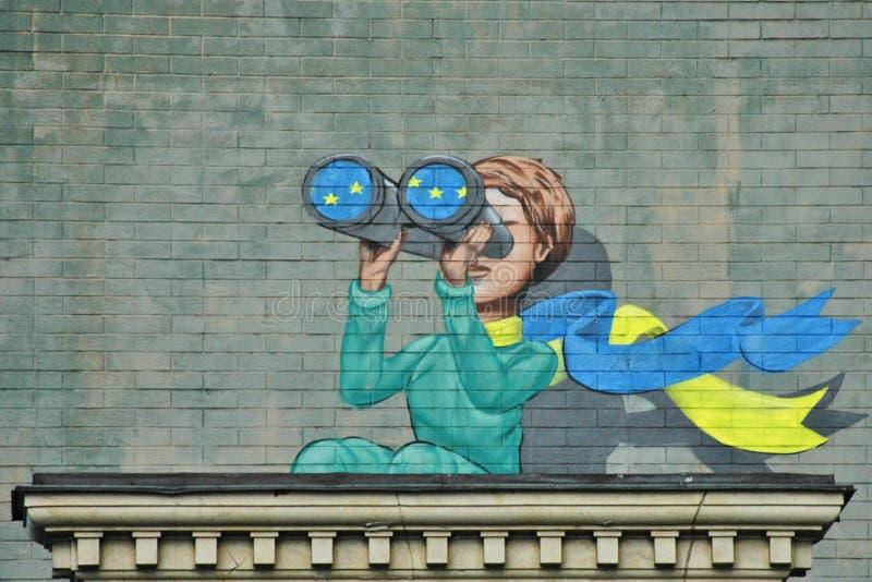 Ukrainian street art. Ukrainian crisis. stock photos
