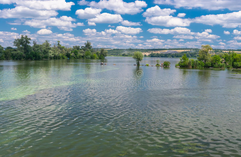 Ukrainian summer landscape with Dnepr river stock image