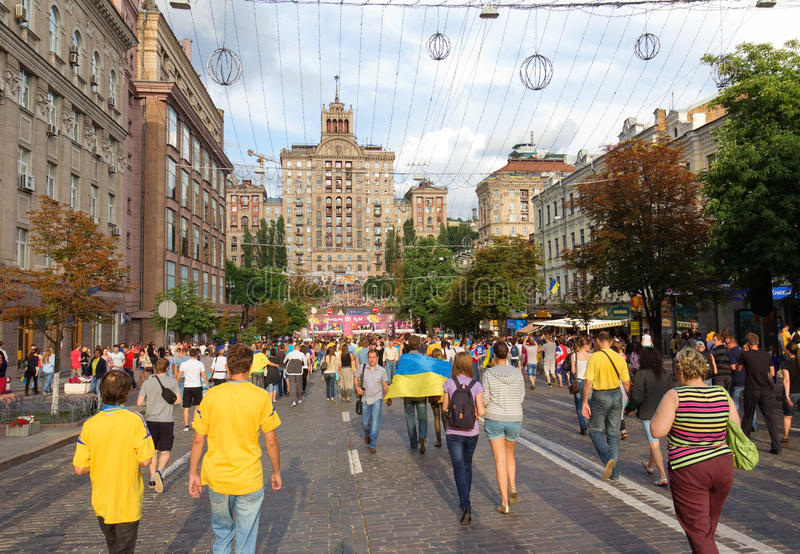 Ukrainian, Swedish And English Fans Go To Fanzone Editorial Stock Image