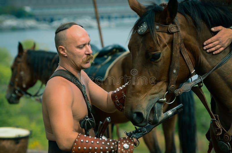 Ukrainian traditional festival in Zaporozhye on the Khortitsa island October 1, 2013 royalty free stock images